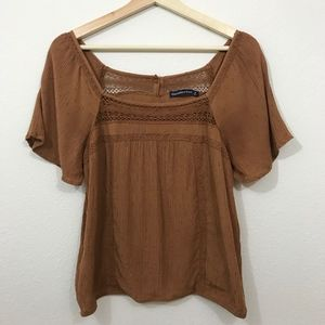 Abercrombie Lace Peasant Tee Size S